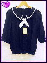 ◆M/マリンタイ五部袖ブラウス/二重襟/黒◆