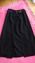 新品☆Lily♪重ね着巻き風☆シンプル秋冬ロングスカート☆日本製ブラックM