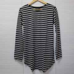 ボーダー柄ロング丈ラウンドカットソー長袖Tシャツ/BLK×GR/M