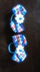 青×赤チェックリボン2個ゴム付き