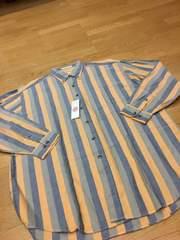 PERRY ELLIS  デザインストライプ長袖シャツ  ツィード  sizeXL