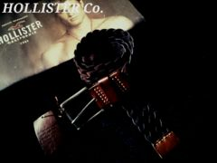 【Hollister】ホリスター Vintage 編み込みレザーベルト 32/D.Brown