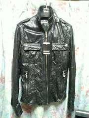 5351プールオムレザーシャツジャケットブルゾン黒1シェラック
