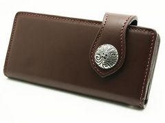 (WA-1004D)ヌメ革ブラウンウォレット革長財布クロスコンチョ付