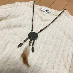 新品◆レザーネックレス◆羽根