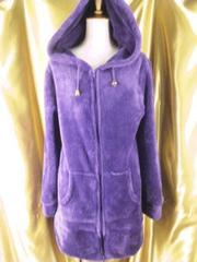 柔らかいふかふか(^o^)フリースロングパーカーLL紫
