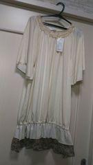新品タグ付きM 裾シフォン花柄フリル付き半袖カットソーTシャツ