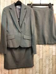 新品☆7号スカート2種付スーツ仕事グレーオールシーズン☆j348