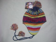 wb532 ROXY ロキシー 耳当て付き ニット帽 柄 紺