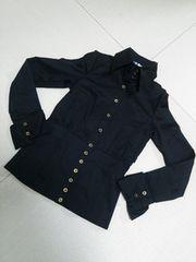 新品◆baby shoop◆シュープ肩腕開きsexyシャツ黒goldボタン