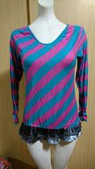 Domiel 水色×ピンク ロング ロンTシャツ