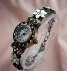フラワーブレス腕時計WH/PK