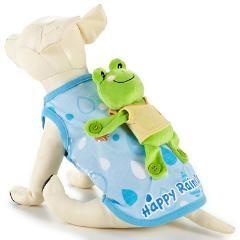 犬服 カエルをおんぶしているシャツ/ブルー系/S