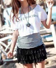 *L★水着Tシャツ+ボーダータンキニ+フリルスカート4点セット黒*即決