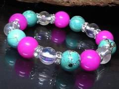 ピンクジェイド・オーラクリスタル・ターコイズ数珠