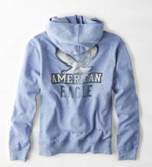 【American Eagle】Vintage AEOグラフィックポップオーバーフーディ XXL/ブルー