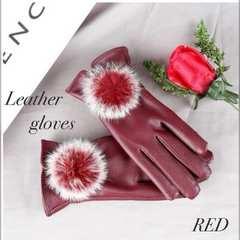 手袋 革手袋 レザーグローブ レディース ファー付き レッド
