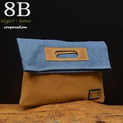 ◆8Bオリジナル 牛革×デニム クラッチバッグ メンズ茶◆b49