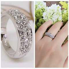 指輪18KRGPプラチナ高級CZリングyu1059e