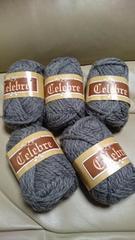 未使用、毛糸、セレーブル、グレー5玉