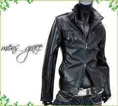 新品 ライダースジャケット 合成皮革 Wジップ 黒ブラック L