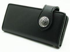 (WA-1004B)ヌメ革ブラックウォレット革長財布クロスコンチョ付