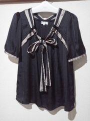 エスプリミュール胸元リボン☆シックカラーのオシャレなブラウス/送料180円
