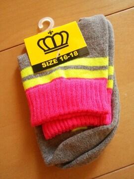新品靴下/グレー16〜18�pベビドBABYDOLLベビードール
