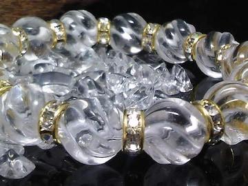 トルネード水晶12ミリ金ロンデル数珠