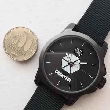 EXO CHANYEOL 腕時計 大きさ見本に 500円玉と写しました