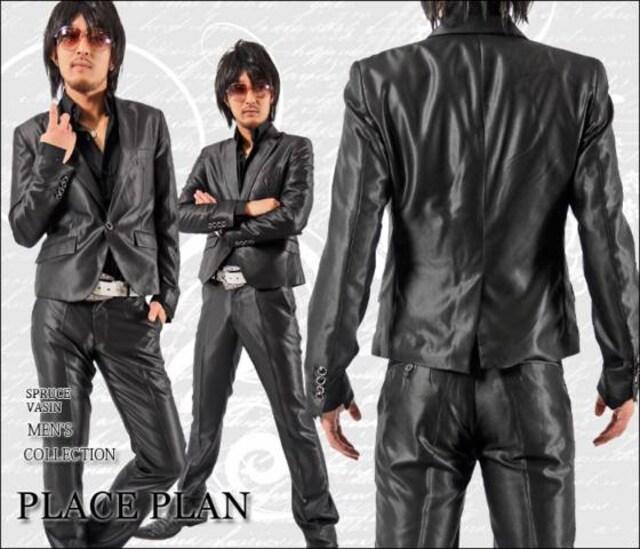 【Place plan】ショート丈光沢地シャンブレースーツ■ブラックS < 男性ファッションの