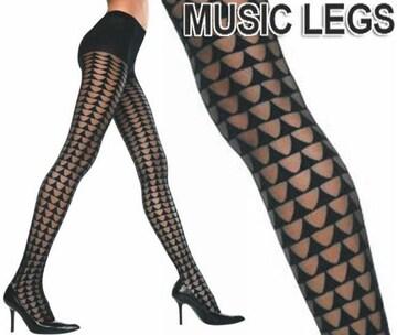 52A)MusicLegsトライアングルシアーストッキング黒タイツセレブパーティーダンス衣装