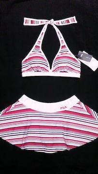FILA〓ロゴ刺繍&マルチボーダー柄ホルターリボン三角ビキニ水着〓スカート付き〓赤