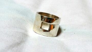 正規 GUCCIグッチ Gロゴ立体ラージリング シルバー925 10号 ワイドバンド 指輪