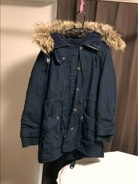 紺ゴージャスファーがオシャレで中ボアミリタリージャケット L L