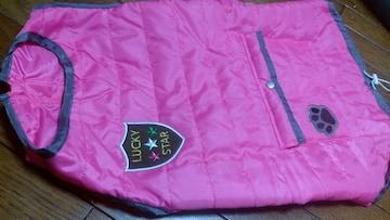 新品★背中ポケット付!「大型犬用ダウン風ウェア」=6L=ピンク