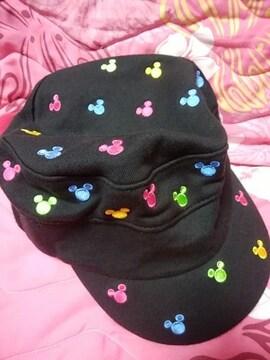 TDL購入☆カラフル☆ミッキーマーク刺繍帽子ワークキャップ新品☆黒☆男女兼用