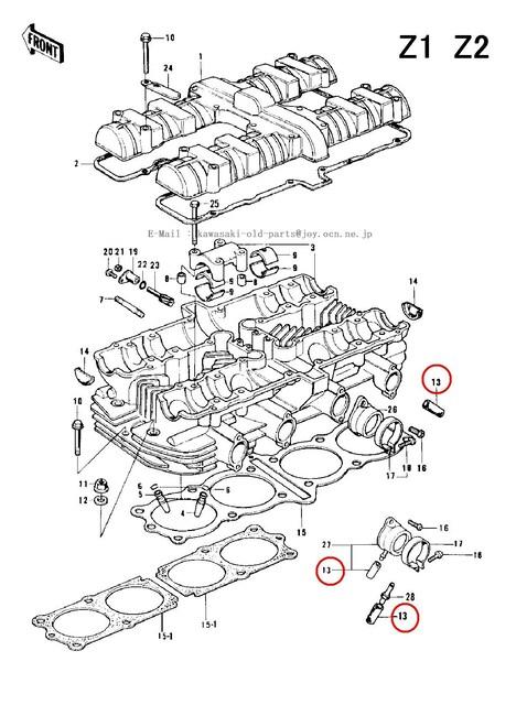 カワサキ Z1 Z2 初版マニホールドバキューム・キャップ4個セット < 自動車/バイク