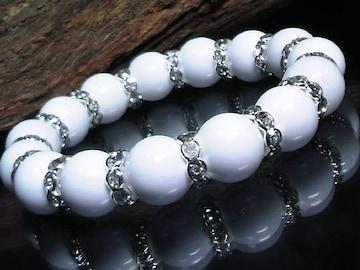 ホワイトオニキス12ミリ§波形銀ロンデル数珠