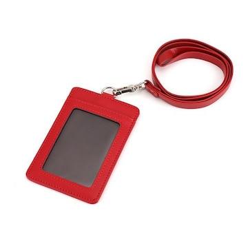 ID カードホルダー 名札 パスケース (縦型)レッド