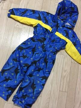 H145/100サイズ/恐竜/ブルー/ジャンプスーツ/
