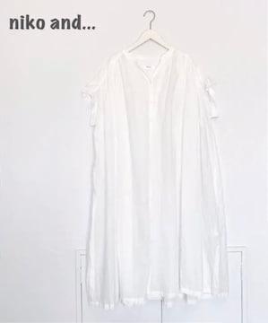 【niko and...】ギャザーシャツワンピース ホワイト ニコアンド