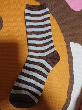 新品、靴下、くつ下、22�p〜25�p、ボーダー、茶色、1円、1スタ