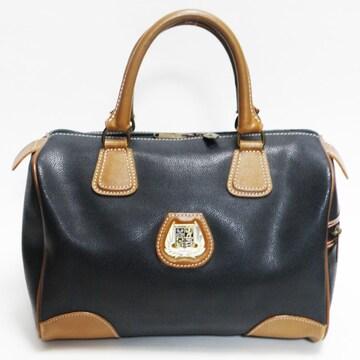 LANCELランセル ハンドバッグ ミニボストン紺×茶 良品 正規