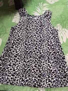 美品 フリース ヒョウ柄 ジャンバースカート 110cm