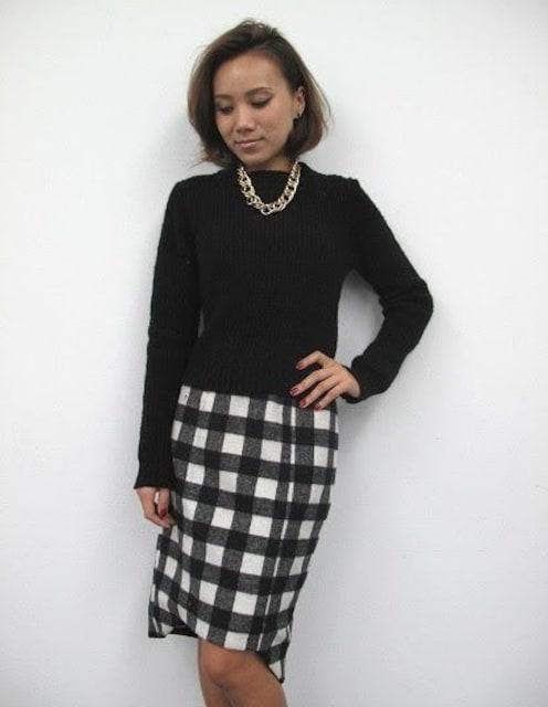 新品未使用★EGOIST エゴイスト★ブロックチェックミディスカート ブラック×ホワイト/M  < ブランドの