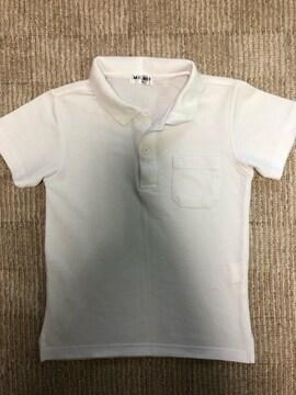 【120cm】美品ホワイトポロシャツ�@名札用穴あり行事発表会にも
