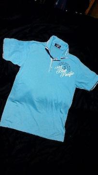 サーフ系☆爽やかなブルーのポロシャツ☆L