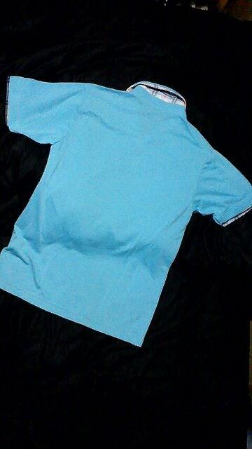 サーフ系☆爽やかなブルーのポロシャツ☆L < 男性ファッションの