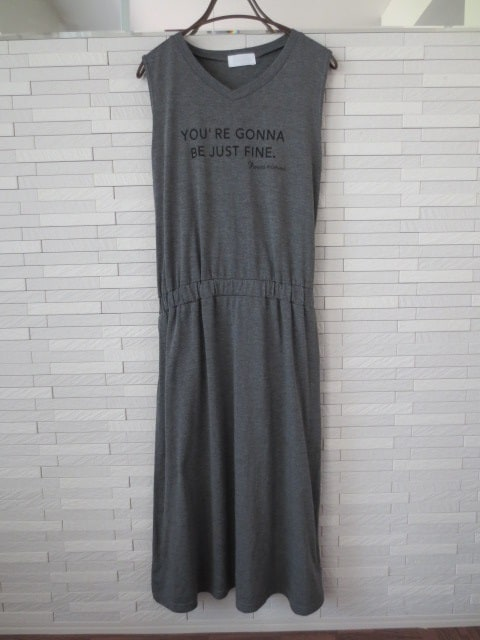Leahmatin/ウエストゴムノースリーブロングワンピース/グレー/L  < 女性ファッションの